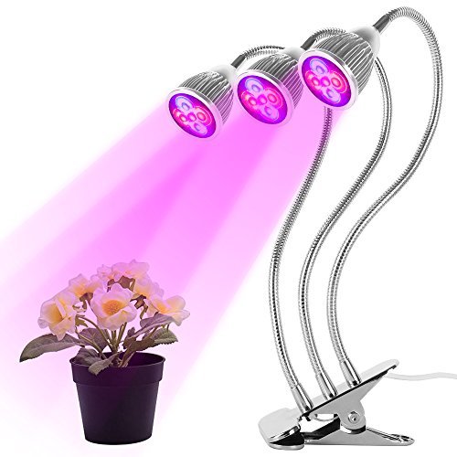 LED Grow Light, Atopsun 15w Triple Head UV & IR Grow Light with Triple Switch and 360° Flexible Gooseneck for Indoor Plants Seedling, Growing, Blooming and Fruiting in Greenhouse, Office and Home -