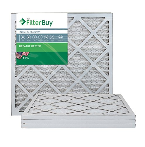 FilterBuy 20x20x1 MERV 13 Pleated AC Furnace Air Filter, (Pack of 4 Filters), 20x20x1 - Platinum (Gas Ratings Efficiency Fire)