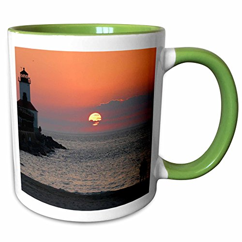 3dRose Danita Delimont - Lighthouses - USA, Indiana, Indiana Dunes State Park Lighthouse - US15 AMI0246 - Anna Miller - 11oz Two-Tone Green Mug - Outlet Indiana Lighthouse