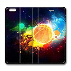 Enjoy happy life iphone 6 plus leather Case,iphone 6 plus Cases ,Colorful basketball Custom iphone 6 plus(5.5)High-grade leather Cases