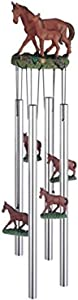 StealStreet SS-G-41939 Wind Chime Round Top Horse with Foal Hanging Garden Porch Decoration
