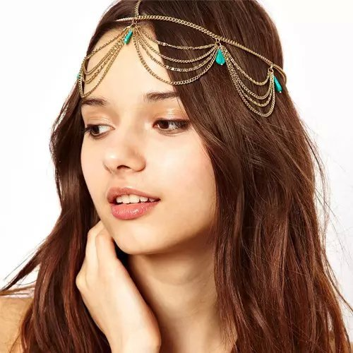 Popfeel Bohemian Fashion Tassel Head Chain Head Jewelry and Lace Brass Bracelet With Ring Butterfly Spider Lolita Bangle Set
