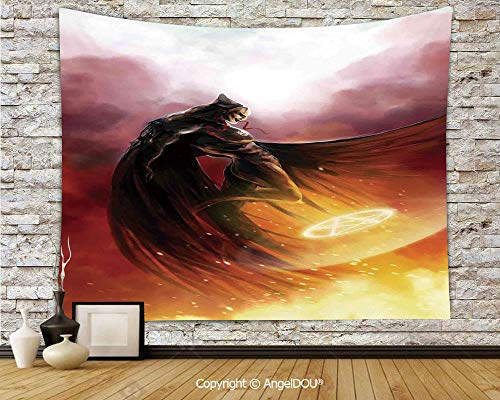 AngelDOU Fantasy World Dorm Decor Wall Hanging Tapestry Superhero in His Original Costume Flying Up Magic Flame Save The World Theme for Living Room Bedroom.W78.7xL59(inch)]()