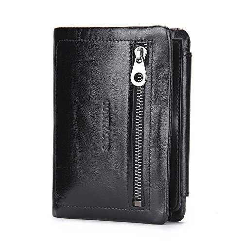 Refinement Zipper Suitable use for Black Practical Card Pure Classic Bag Business Purse Bag Package Gift Purse Leather Hand Man Generous Asdflina everyday gqwXdSg