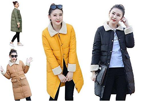 Quilted Long Lapel Lambs COMVIP Puffer Women Thick Coat Collar Wool Black 0q55XAIw