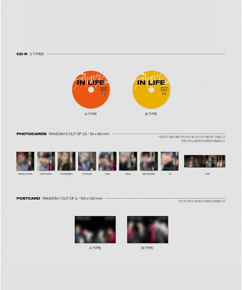 , Mini Photobook, Seller Gift : Random Acrylic Photocard Set Stray Kids in Life IN生 The 1st Album Repackage Standard B Version INCL. Pre-Order Benefits : Poster Folded