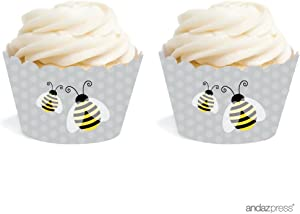 Andaz Press Birthday and Baby Shower Cupcake Wrappers, Honey Bee Bumblebee, 20-Pack, Decor Decorations Wraps Cupcake Muffin Paper Holders