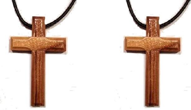 Amazon.com: Cruz de madera de olivo Pendent Collar de piel ...