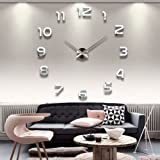DIY Wall Clock Fashion Modern Large 3D Clock Acrylic Big Watch Mirror Metal Frameless Wall Stickers Clocks Style Room Home Office Decorations (Silvery)