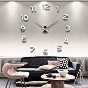 #LightningDeal 76% claimed: DIY Wall Clock Fashion Modern Large 3D Clock Acrylic Big Watch Mirror Metal Frameless Wall Stickers Clocks Style Room Home Office Decorations