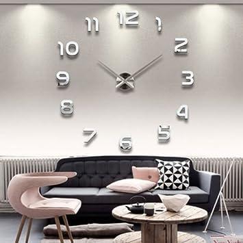 Wanduhr Groß amazon de diy wanduhr moderne clock 3d acryl spiegel metall