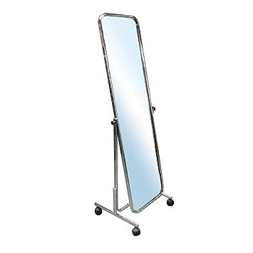Professioneller Standspiegel Therapiespiegel Garderobenspiegel Anprobespiegel Spiegel Schwenkbar Fahrbar H140 Cm Verchromt
