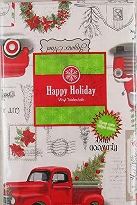 Haul Your Own Farm Fresh Christmas Trees Vinyl Flannel Back Tablecloth
