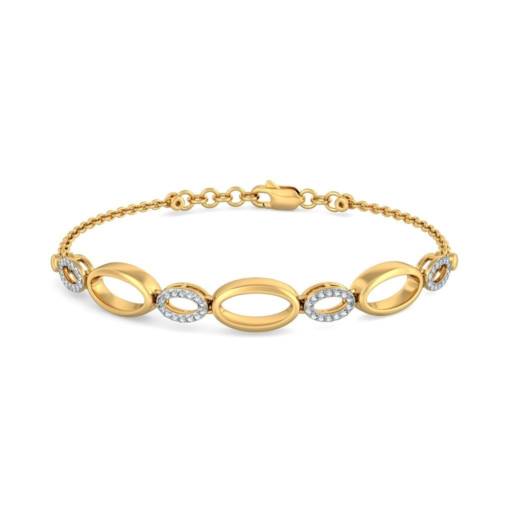 IJ| SI 18K Yellow Gold 0.28 cttw Round-Cut-Diamond identification-bracelets Size 8.5 inches