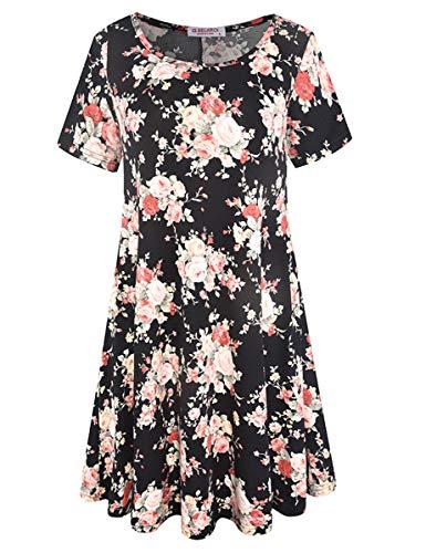 (BELAROI Women's Summer Tunic Top Floral Print Swing T-Shirt Loose Dress(1X,Flower Black 3))