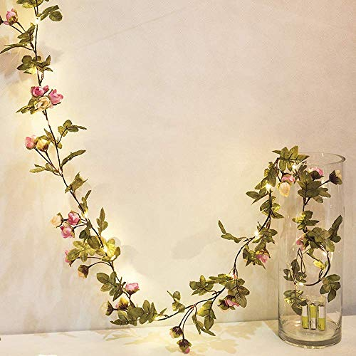 MeeDoo 20LED 7.2ft Artificial Flower Rose Vine String Lights, Battery Powered Rose Flower Garland Plant Fairy Light for Valentine's, Wedding Bedroom Party Garden Indoor Decoration Craft Art Decor -