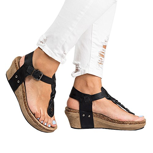 Heel Wedge Thongs Leather Sandals (Syktkmx Womens Thong Braided T Strap Wedge Platform Cork Ankle Strap Mid Heel Sandals)