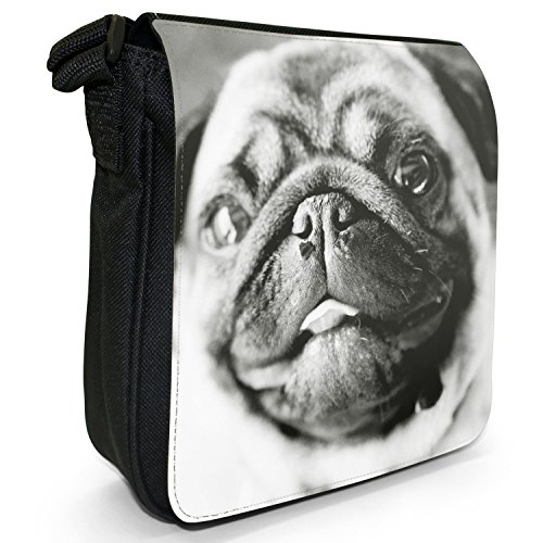 Pugs Love Shoulder amp; Canvas Size Small Pug Bag Little Dogs White Black q5TF7Odw