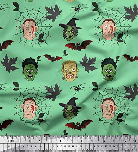 Soimoi Green Georgette Viscose Fabric Bat & Ghost Face Halloween Printed Craft Fabric by The Yard 42 Inch Wide -
