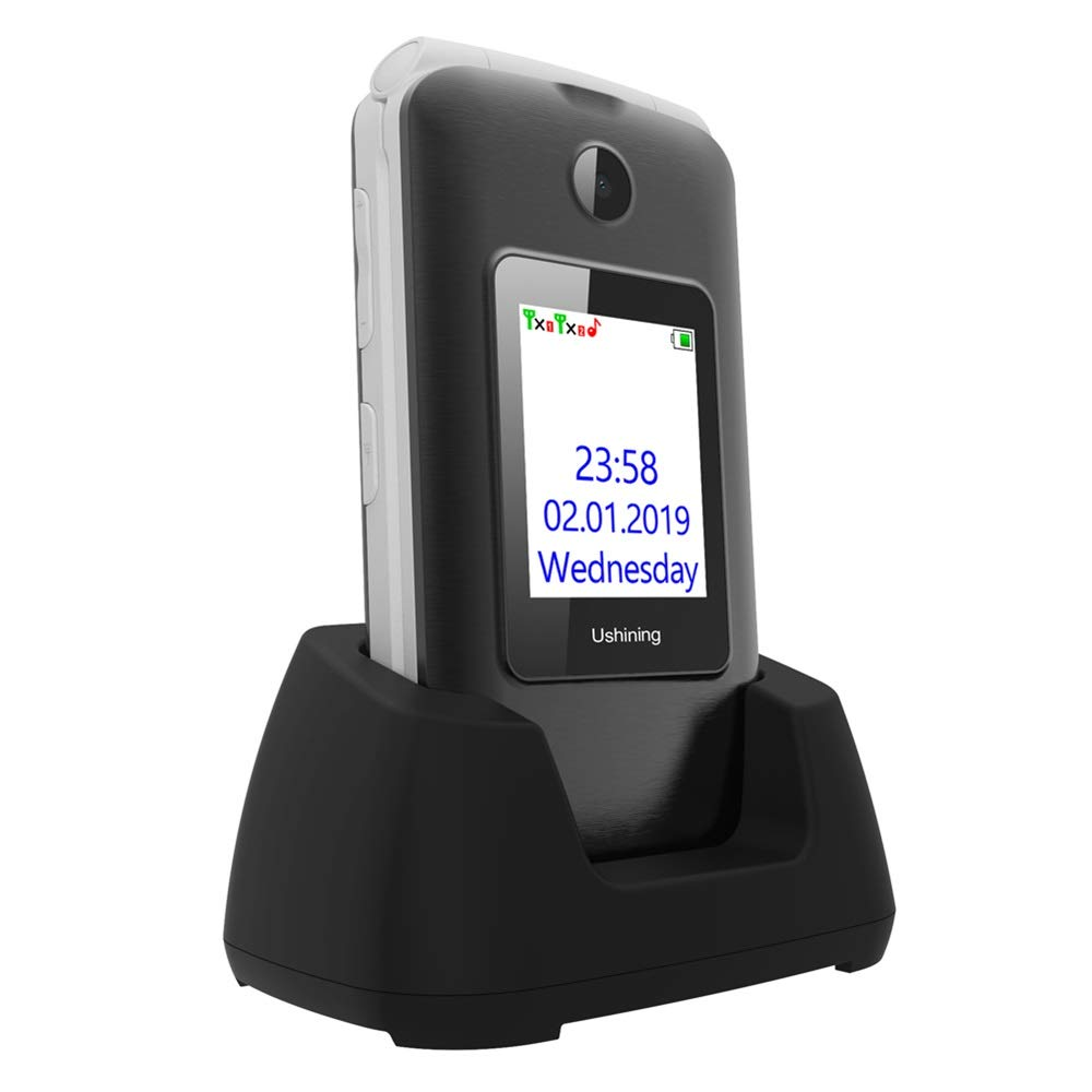 Ushining 3G Unlocked Flip Cell Phone for Senior & Kids,Easy-to-Use Big Button Cell Phone with Charging Dock,A&T or T-Mobile Card Suitable (Black)
