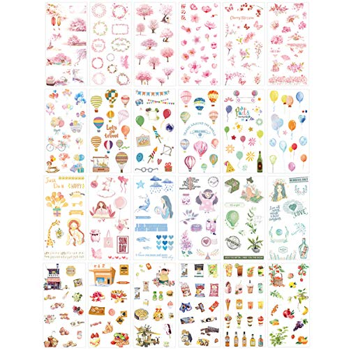 Cute Stationery Sticker Set (Assorted 24 Sheets) Flower Balloon Kawaii Girl Food Bottle Drink Snack Sticker Scrapbooking Travel Journal Diary Book Album Decorative Label School Office Supplies