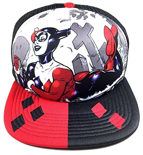 Dc Print Hat (DC Comics Harley Quinn Graveyard Mesh Trucker Snapback)