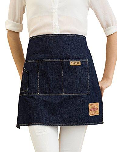 Vantoo Denim Jean Waist Half Short Bristo Apron for Restaurant Home Cooking Craft Garden Shop with Pockets for Women Men Chef Baker Servers Waitress Waiter Craftsmen,Navy Blue