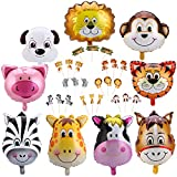 Konsait Jungle Animal Balloon & Cupcake Picks Decoration(33Pack), Safari Theme Zoo Animals Birthday Party Home Ceiling Wall table Decor for Woodland Farm Baby Shower Favor Supplies Decor for Boy Girls Kids