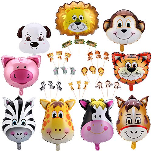 Konsait Jungle Animal Balloon & Cupcake Picks Decoration(33Pack), Safari Theme Zoo Animals Birthday Party Home Ceiling Wall table Decor for Woodland Farm Baby Shower Favor Supplies Decor for Boy Girls Kids - Noahs Ark Centerpieces