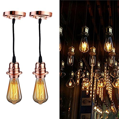 2 Pcs/Lot Vintage Pendant Lamp Holder DIY Kit, Jeffrien Retro Industrial Rose Gold Light Socket Ceiling Hanging Lighting Fixture with Black Twisted Fabric Cable for Loft Bar Kitchen Bedroom ()