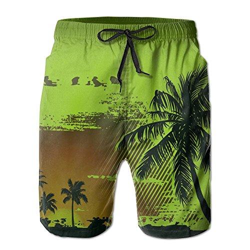 衣服バッグ保護ヤシ 木 紳士のファッションと快適のビーチショーツ スイムショーツ メッシュインナー 通気 速乾 ビーチズボン 海水パンツ ショートパンツ