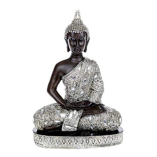 Buddha Sitting Statue in Stunning Silver Finish (Large) Shudehill Giftware