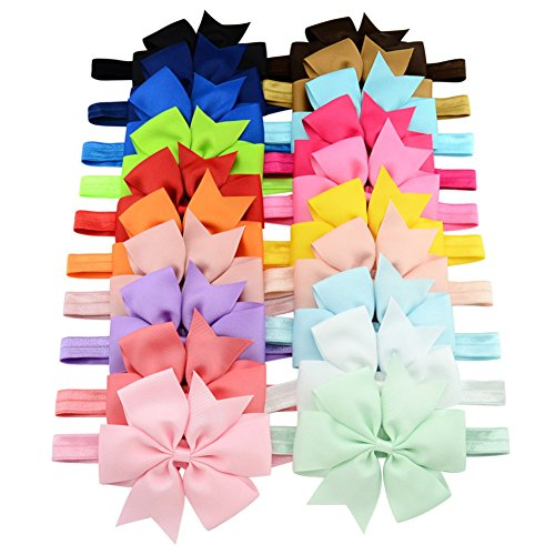 Baby Girls Headbands - Girl's Cute Hair Bows Hair bands - The Best Unique Baby Gift for Girls - 20Pcs Different Colors In Bag (Baby Unique Headbands)