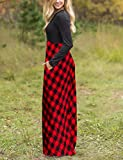 MEROKEETY Women's Plaid Long Sleeve Empire Waist
