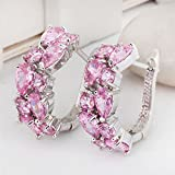 Womens Fashion 925 Silver Pink Sapphire Gemstone Stud Earrings Wedding Jewelry