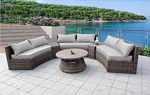 Curved Outdoor Wicker Rattan Patio Furniture Set w/Coffee Table (5 Colors!) ()