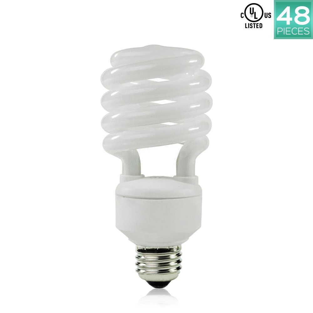 Luxrite LR20200 (48-Pack) 23-Watt CFL T2 Mini Spiral Light Bulb, Equivalent To 100W Incandescent, Day Light 6500K, 1600 Lumens, E26 Standard Base, UL-Listed