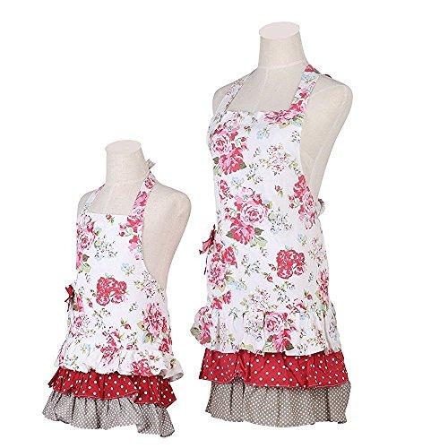 G2Plus Schön Frau Schürze Schürze Baumwolle Küchenschürze Modische Apron mit Taschen zum Kochen oder Backen (Mutter und Tochter Schürze)