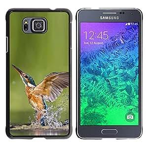 TopCaseStore / la caja del caucho duro de la cubierta de protección de la piel - Cool Kingfisher In Water - Samsung GALAXY ALPHA G850