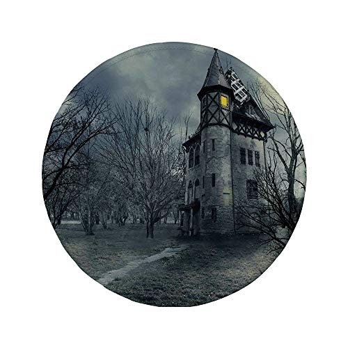 Non-Slip Rubber Round Mouse Pad,Halloween,Halloween Design with Gothic Haunted House Dark Sky and Leafless Trees Spooky Theme -