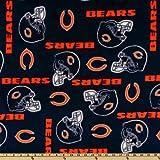 NFL Fleece Chicago Bears Blue/Orange Helmets Fabric By The Yard