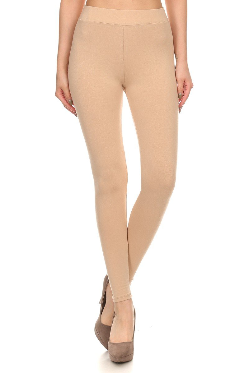 J2 LOVE Made in USA Solid Stretch Full Length Cotton Legging (also in Plus),Nude,Small