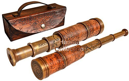 Hanzlacollection Nautical Marine Spyglass Handheld Brass Telescope with Leather Case~Vintage Dollond London Scope from Hanzlacollection