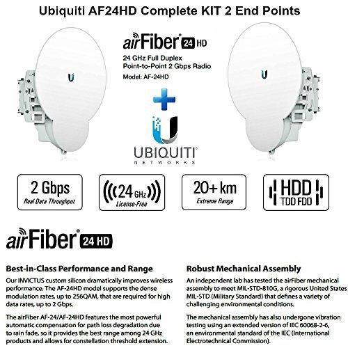 Ubiquiti AF24HD KIT 2 End Points airFiber 24HD AF-24HD 24GHz 20km License-Free by Ubiquiti Networks