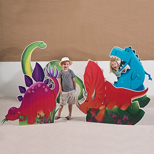 3 ft. 9 in. to 4 ft. 5 in. Dino Tales Dinosaur Standee Set Standup Photo Booth Prop Background Backdrop Party Decoration Decor Scene Setter Cardboard Cutout