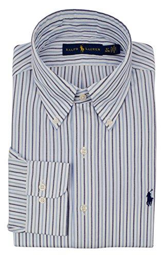 (Ralph Lauren Men's Regular Fit Striped Long Sleeve Dress Shirt-BW-17.5-34/35 Blue/White)