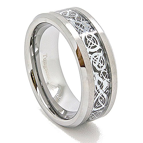Unique 8mm Satin Tungsten Carbide with Silver-Colored Celtic Dragon Inlay Wedding Band (US Sizes 5-16) (8) by Blue Chip Unlimited