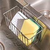 THETIS Homes Kitchen Sponge Holder, Sink Caddy Organizer Stainless Steel Holders Dishwashing Liquid Drainer Rack Bottle Brush Storage