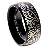 JAJAFOOK Unisex's 8MM Black Plated Stainless Steel Ring Muslim Jewelery Band with Shahada