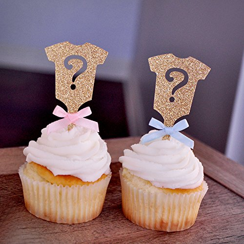 Gender Reveal Party Decor. Gold Onesie Question Mark Cupcake